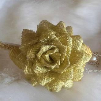 Золотая роза на обруче