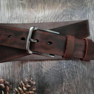 Кожаный ремень коричневый