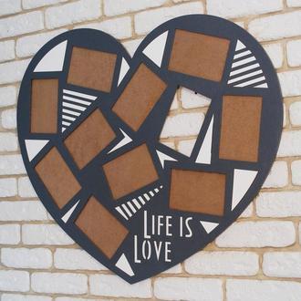 Большая фото рамка фото коллаж Life is Love на 10 фото 10*15 см