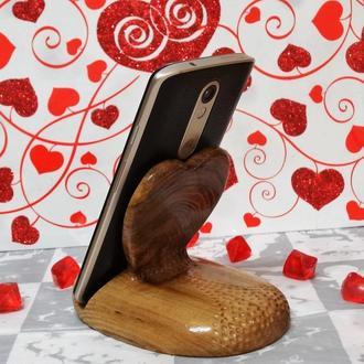 эксклюзивная подставка для смартфона телефона из массива дерева - подарок на день Святого Валентина
