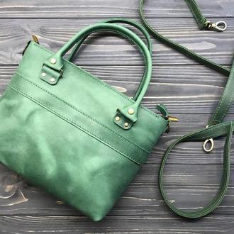Женская кожаная сумочка на молнии с ручками и ремешком Aurora green - 2 вида кожи, 15 оттенков