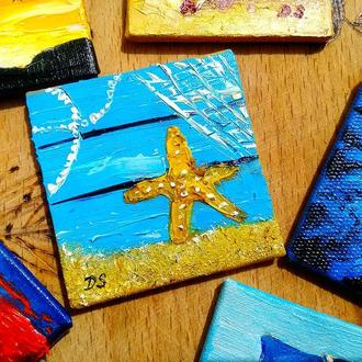 Мини-картина маслом на морскую тематику