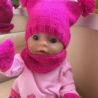 Одежда для беби борн, шапочка с варежками и снудом для беби борн