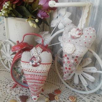 Сердечки Тильды. Текстильные Валентинки. Интерьерные сердечки. Сердце подвеска