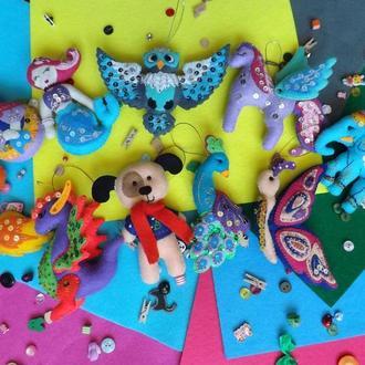 Комплект объемных игрушек из фетра (Елочные)