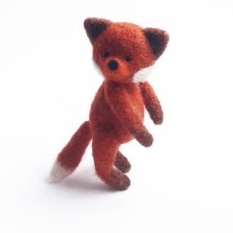 Валяный лис Рыжий лисенок Лисичка игрушка  Мягкая игрушка