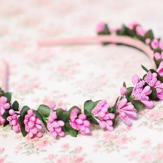 Нежный розовый обруч ободок для девочки