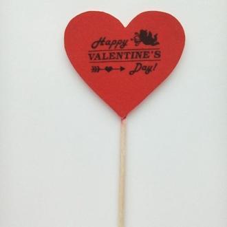 Топпер Сердце для цветов или капкейков