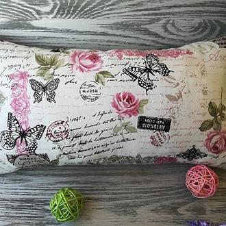 Подушка диванная розовые розы 2