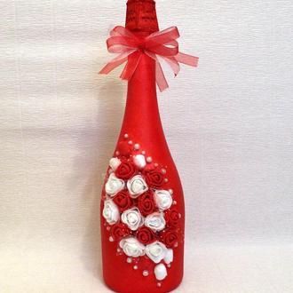 Декор шампанского на день влюбленных или свадьбу