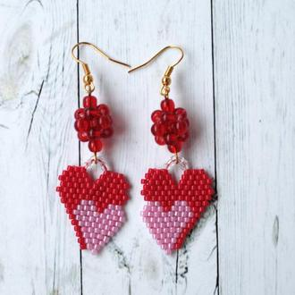 Серьги ′Два сердечка′