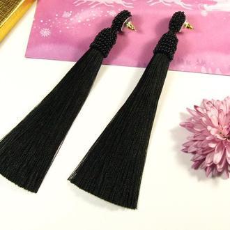 Черные шелковые серьги кисточки