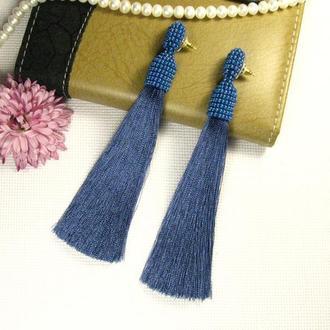 Синие шелковые серьги кисточки