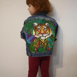 Куртка джинсовая джинсовка с ручной росписью ручний розпис