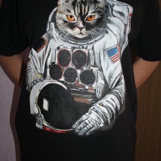Футболка с ручной росписью ручная роспись принт ручний розпис кот кіт