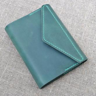 Обложка для блокнота формат А6 из зеленой кожи B17-350
