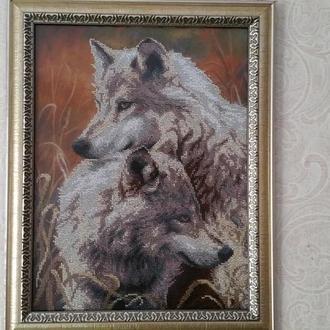 """Картина з бісеру """"Пара вовків"""""""