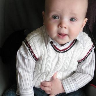 """Детский вязаный жилет """"Как у папы"""""""