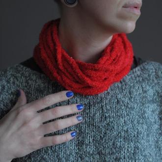 Плетений червоний хомутик