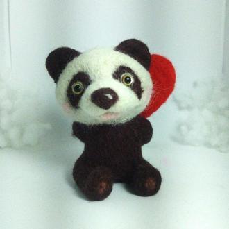 Панда сердце валяная игрушка подарок день влюбленных