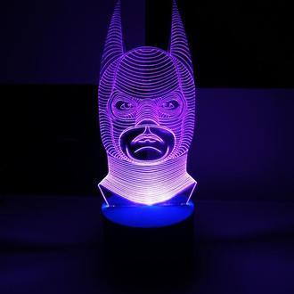 Бэтмен, ночник акриловый, светильник, лампа, супергерой, герои, оригинальный подарок