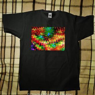 Эксклюзивная футболка. Абстрактная картина. Черная футболка. Хлопок.