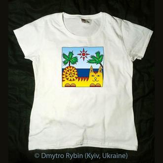 Кот на пляже. Позитивная футболка. Эксклюзив. Авторская графика на белой футболке. Хлопок