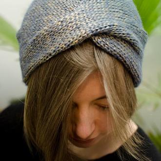 Золотисто голуба шапка чалма з легким блиском