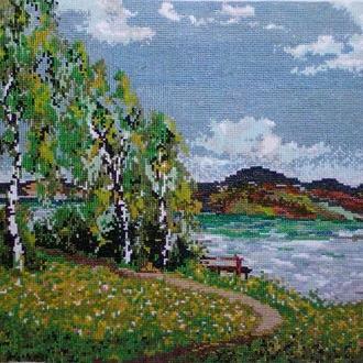 """Картина вышитая крестом """"Березы у озера"""""""