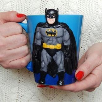 Авторская чашка.кружка Бетмен.декорированная полимерной глиной