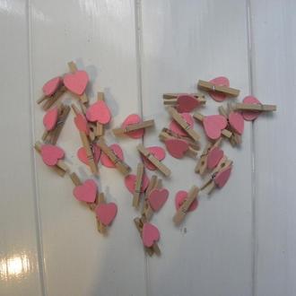 Деревянные прищепки - Сердечки