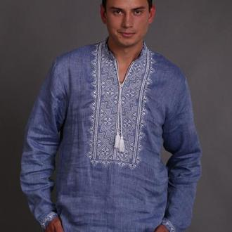 Мужская рубашка-вышиванка лен джинса
