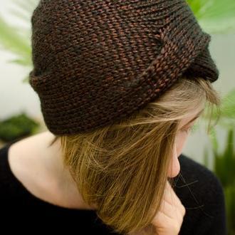 Блискуча шапка чалма шоколадного кольору