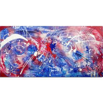 Огонь и вода. Абстрактная акриловая живопись, 40 х 80 см