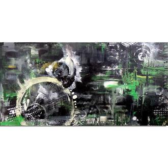 Единство аналогового и цифрового. Абстрактная картина, абстракция 40 х 80 см, акрил, холст