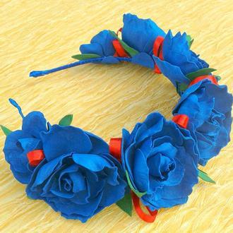 Ободки из фоамирана. Синие розы