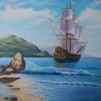 """Картина маслом на холсте """"Море"""""""