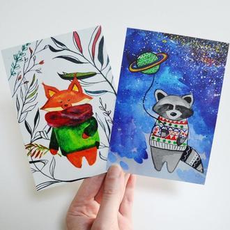 Авторские открытки Енот и Лиса. Сет из двух открыток. Оригинальный подарок