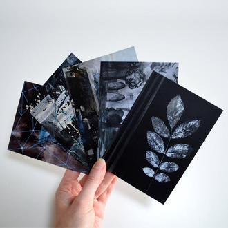 Набор из 5  открыток. Черно-белая акварель. Оригинальный подарок