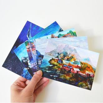 Набор из 5 авторских открыток. Путешествия. Города. Оригинальный подарок