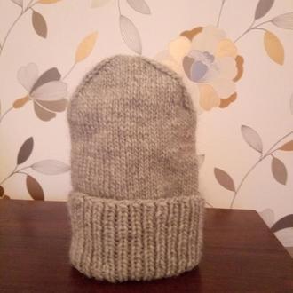Вязанная женская шапочка бини, серая вязанная шапка
