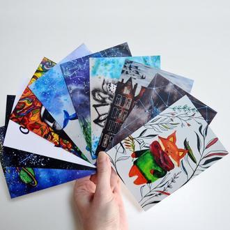 Набор из 10 авторских открыток. Оригинальный подарок.  Авторские рисунки