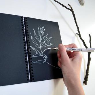 Скетчбук черные страницы и белая ручка. Формат А5. Авторская иллюстрация. Оригинальный подарок