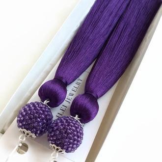 """Длинные серьги-кисти """"Ультрафиолет"""" фиолетовые шелковые сережки кисточки LILEI JEWELRY"""