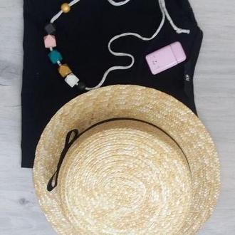 Шляпа соломенная канотье шляпка канотьє солом'яна