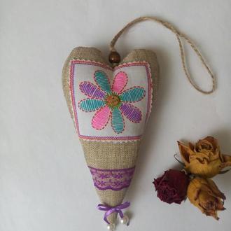Текстильное сердечко в стиле Тильда, Валентинка, интерьерная игрушка, ручная работа