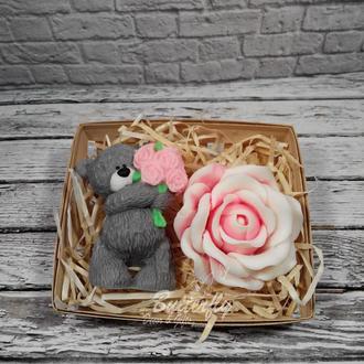 """""""Набор Мишка с розами"""" Мыло"""