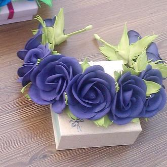 Ободок Розы цвета индиго