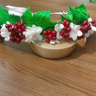 Ягоды и цветы Калины венок из фоамирана