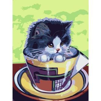 "Картина по номерам без упаковки ""Котенок в чашке"" (КНО2451), 30х40см."